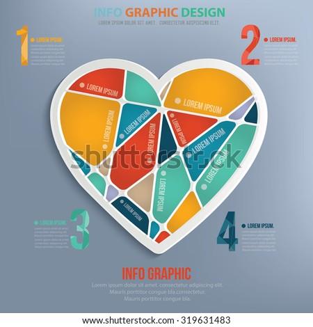 Heart info graphic design,clean vector - stock vector