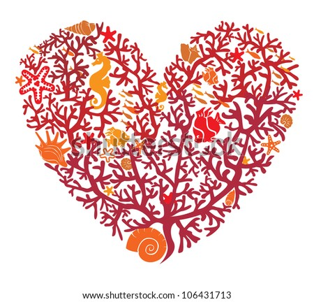 Heart is made of corals, isolated on white background - stock vector