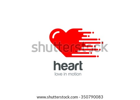 Heart Logo symbol of Love design vector template. Cardiology Logotype. St. Valentines Day motion icon. - stock vector