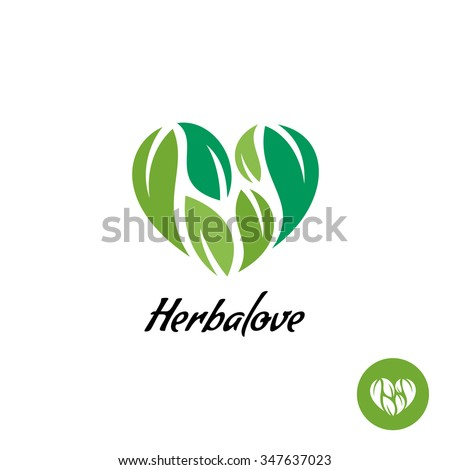 Heart logo with herbal green leaves. Natural product concept. - stock vector