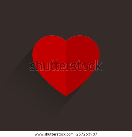 Heart long shadow - stock vector