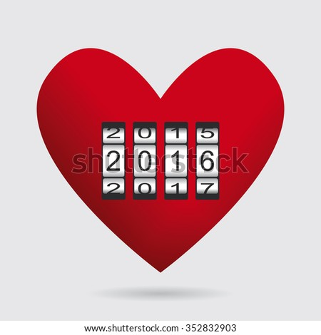 Heart Love Counter Happy New Year / Love Wishes / End Year / party /Valentines day - stock vector