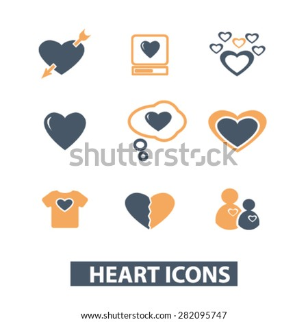 heart, love icons, signs, illustrations set, vector - stock vector