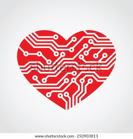 heart love / technology concept design - stock vector