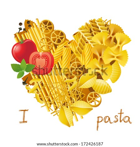 heart made from different types of pasta - stock vector