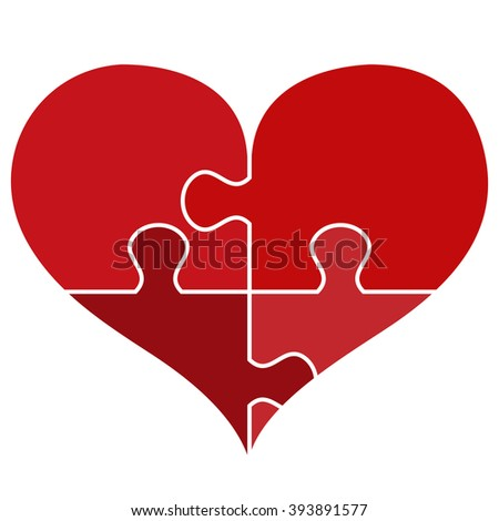 heart made from pieces of puzzle - stock vector