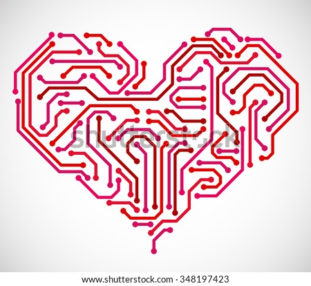 Heart made from printed circuit board - stock vector