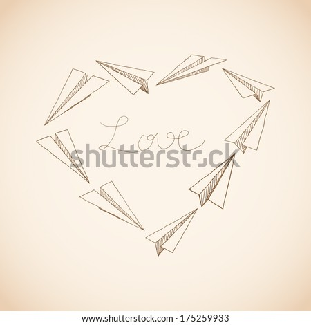 Heart made of doodled paper planes. Valentines day greeting card - stock vector