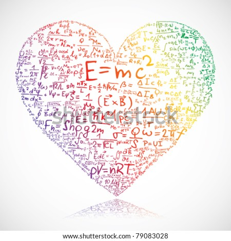 Heart made of equations and formula - stock vector