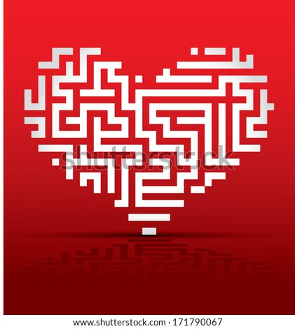 Heart maze/labyrinth - stock vector