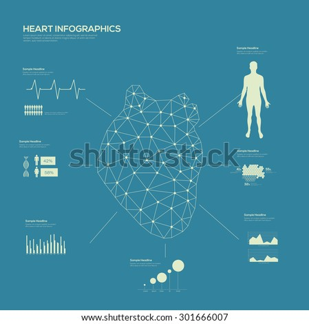 Heart Medical Infographic set Line Art. Vector illustration.  - stock vector