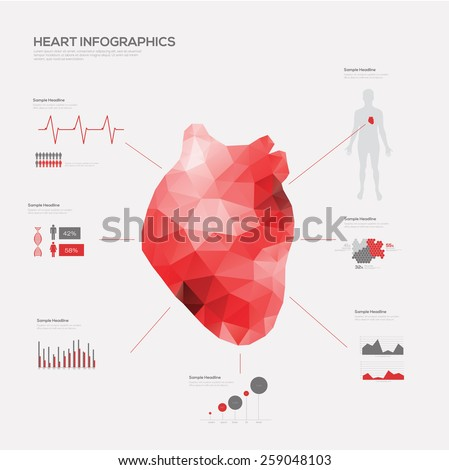 Heart Medical Infographic set. Vector illustration.  - stock vector