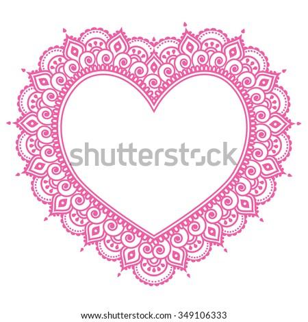 Heart Mehndi pink design, Indian Henna tattoo pattern - love concept - stock vector