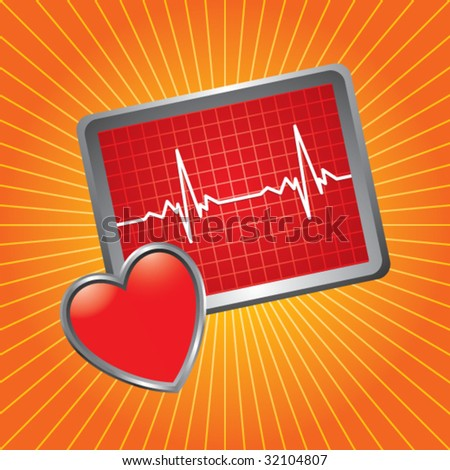 heart monitor on orange starburst - stock vector