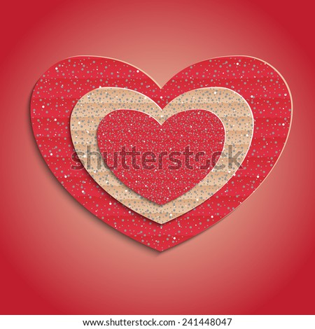 Heart of cardboard 3D, Valentine's Day, vector, eps10  - stock vector