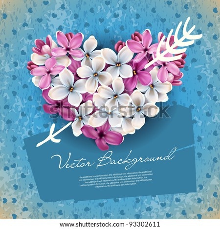 Heart of flowers of lilac and arrow Cupid. An illustration on a theme of Valentine's day - stock vector