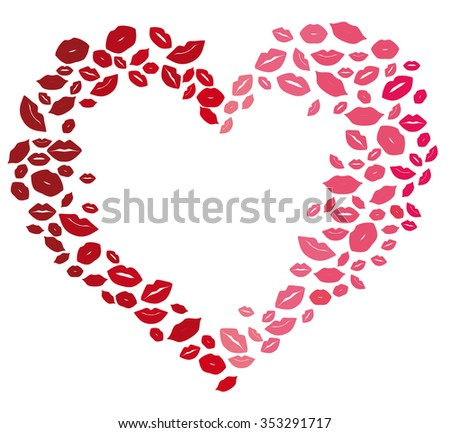 Heart of kisses, design element, on the day of lovers. - stock vector
