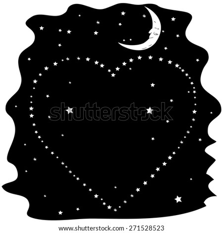 Heart of the stars on a black night sky, vector - stock vector