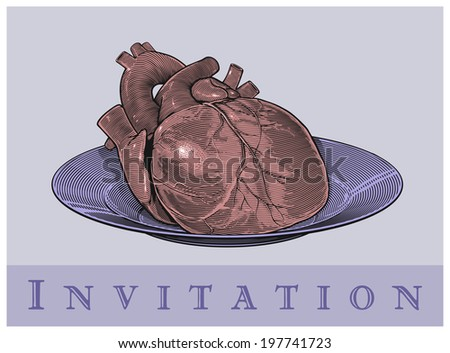 Heart on a plate (Invitation card). Vector illustration, isolated, grouped  - stock vector