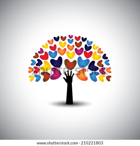 heart or love icons and hand as tree - concept vector. This graphic also represents harmony & peace, spreading love, empathy and compassion - stock vector