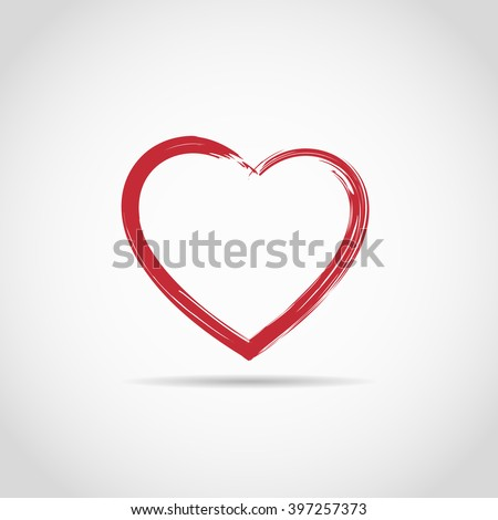Heart painted brushes for logo - stock vector