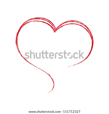 Heart. Painted with a brush. Design element. - stock vector