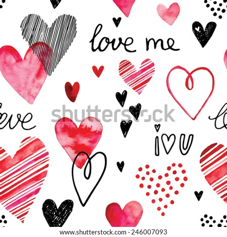 Heart pattern, vector seamless background. Can be used for wedding invitation, card for Valentine's Day or card about love. - stock vector