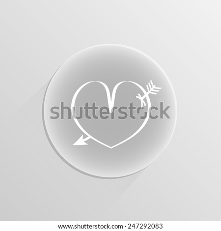 heart pierced by an arrow on a white button with shadow - stock vector