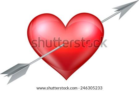 Heart pierced by arrow - stock vector