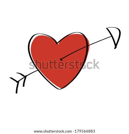 Heart pierced with arrow - stock vector