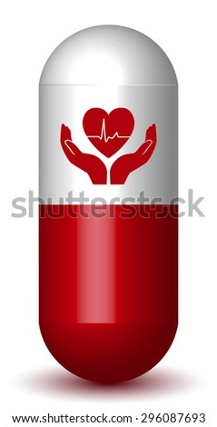 Heart Protective Pill - Capsule with Heart in Hands - stock vector