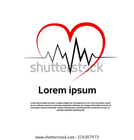 Heart Pulse Logo Red Icon Vector Illustration - stock vector