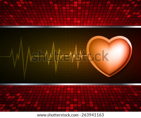 Heart pulse monitor with signal. Heart beat. dark orange background. Light Abstract Technology background for computer graphic website internet and business. red Table background , Mosaic. pixel. - stock vector