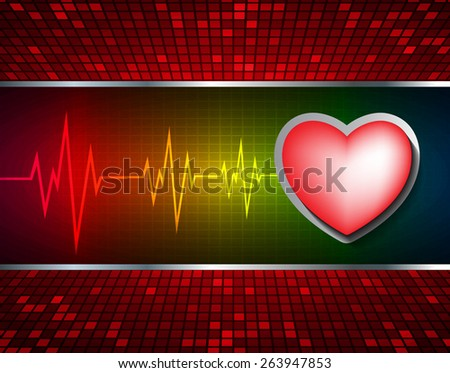 Heart pulse monitor with signal. Heart beat. dark red yellow background. Light Abstract Technology background for computer graphic website internet and business. red Table background , Mosaic. pixel. - stock vector