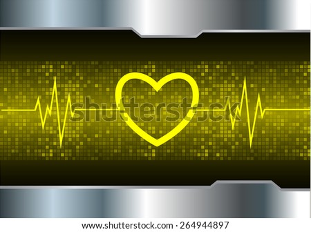 heart pulse monitor with signal. Heart beat. vector illustration. dark yellow background. silver.Pixel, mosaic, table - stock vector