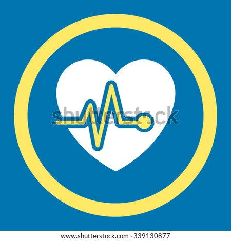 Heart Pulse vector icon. Style is bicolor flat rounded symbol, yellow and white colors, rounded angles, blue background. - stock vector
