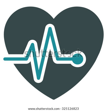 Heart Pulse vector icon. Style is bicolor flat symbol, soft blue colors, rounded angles, white background. - stock vector