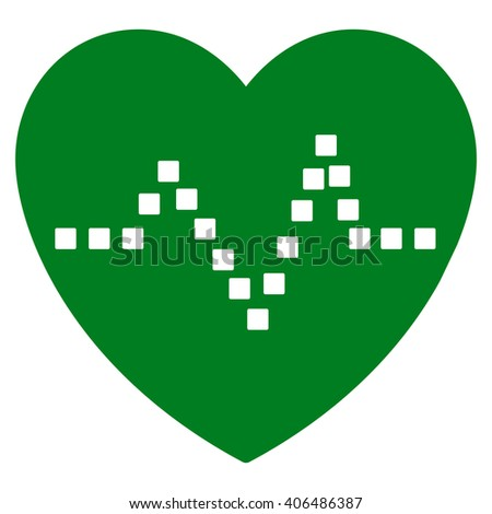 Heart Pulse vector toolbar icon. Style is flat icon symbol, green color, white background, square dots. - stock vector
