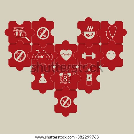 heart puzzle and prevention of hypertension illustration - stock vector