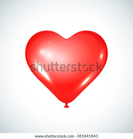 Heart red balloon. Celebratory element. Used for party or birthday. - stock vector
