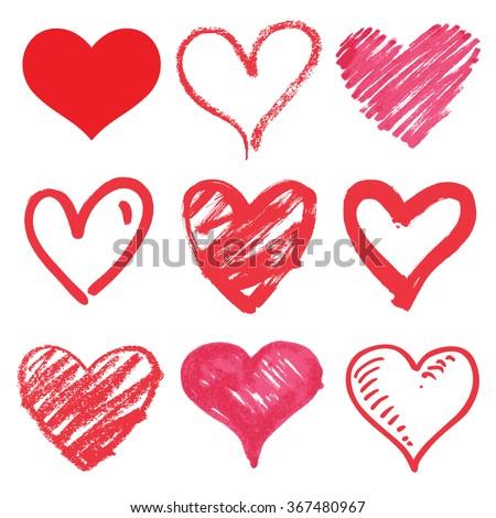 heart series vector set - stock vector