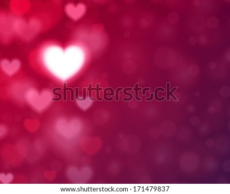 Heart shape and light vector background. Valentines day illustration - stock vector
