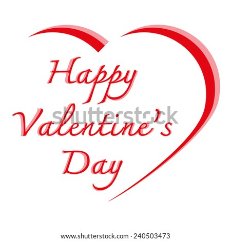 Heart shape and text valentine in red color on isolated white background for Valentine's Day,Vector illustration - stock vector