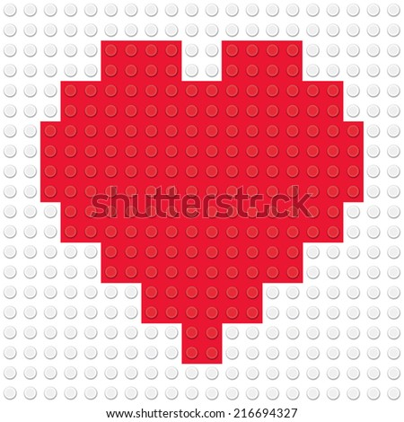 Heart Shape created from building toy bricks - stock vector