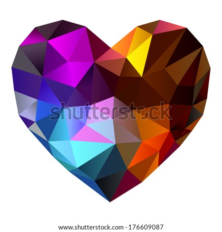 Heart shape diamond abstract background (10eps) - stock vector