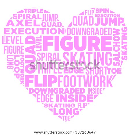 Heart shape filled with words about skating - stock vector