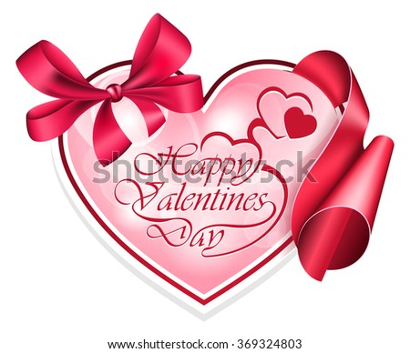 Heart shape frame with ribbon - stock vector