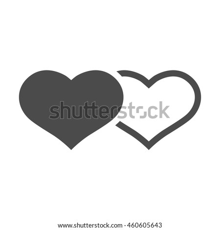 Heart shape icons in black and white. Couple wedding valentine engagement. - stock vector