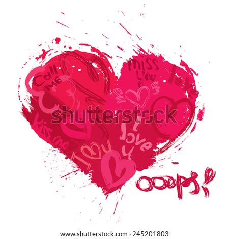 Heart shape is made of brush strokes and scribbles and words I LOVE YOU, miss you, call me - element for Valentines Day or wedding design - stock vector