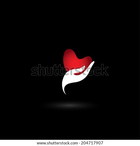 heart shape love icon in a girls hand - concept vector of love. The graphic also represents giving love, passion, emotions & feelings, marriage proposal, solicit friendship, engagement, sensuality  - stock vector